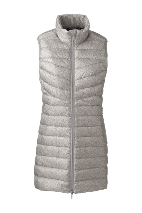 Women's Petite Print Ultralight Packable Long Down Vest