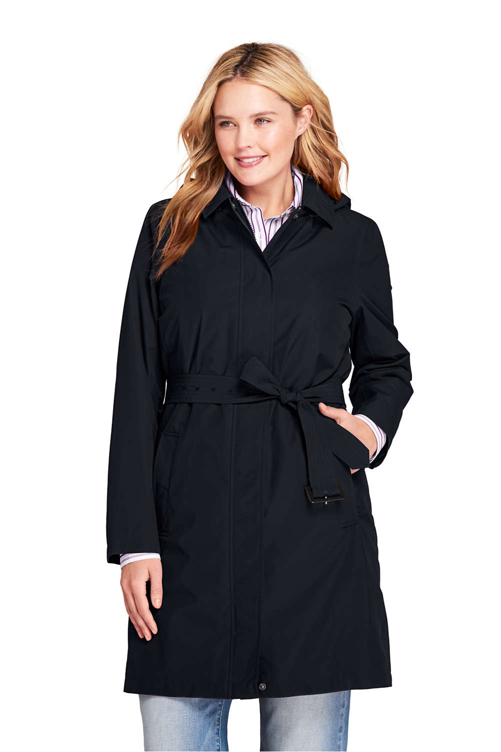 6b0058a552 Women's Plus Size Hooded Waterproof Long Raincoat from Lands' End