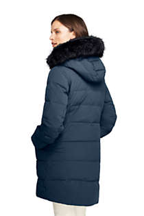 Women's Petite Stretch Long Down Coat, Back