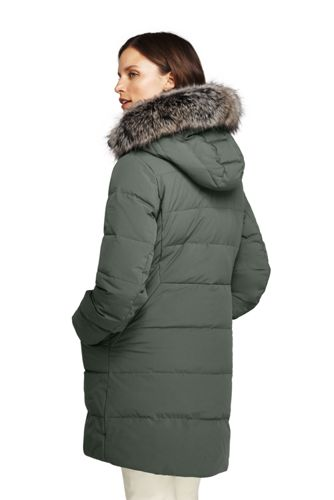 Lands' End - Plus Faux Fur Hooded And Lined Down Coat with Stretch - 2
