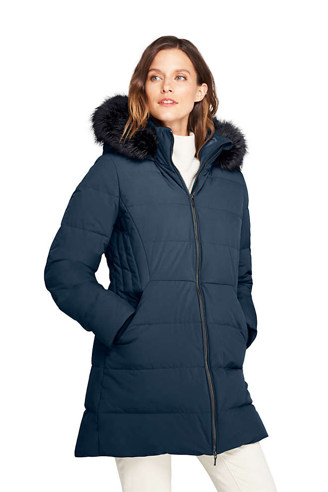 Women's Petite Stretch Long Down Coat, Front