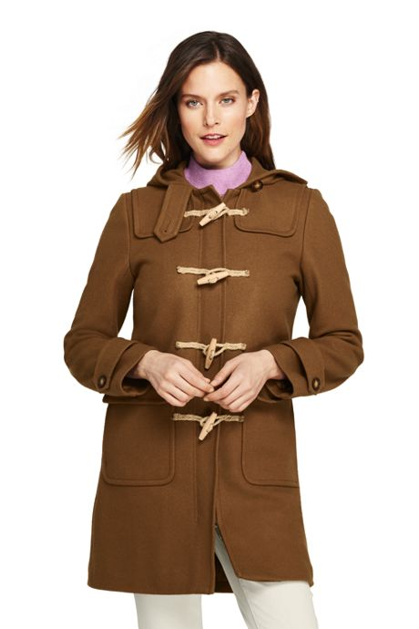 Women's Petite Duffle Long Wool Coat