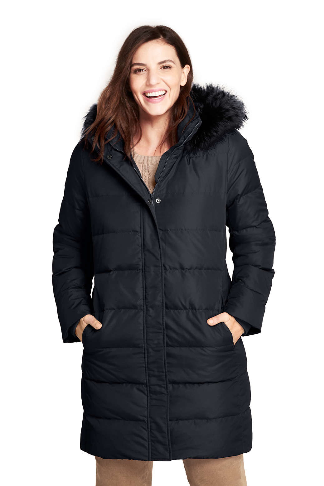 bb9614947fe Women s Plus Size Winter Long Down Coat with Faux Fur Hood from Lands  End