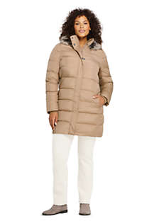 Women's Plus Size Winter Long Down Coat with Faux Fur Hood, alternative image