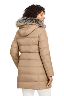Women's Plus Size Winter Long Down Coat with Faux Fur Hood, Back