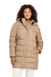Women's Plus Size Winter Long Down Coat with Faux Fur Hood, Front