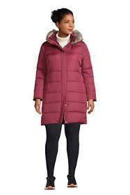 Women's Plus Size Petite Winter Long Down Coat with Faux Fur Hood