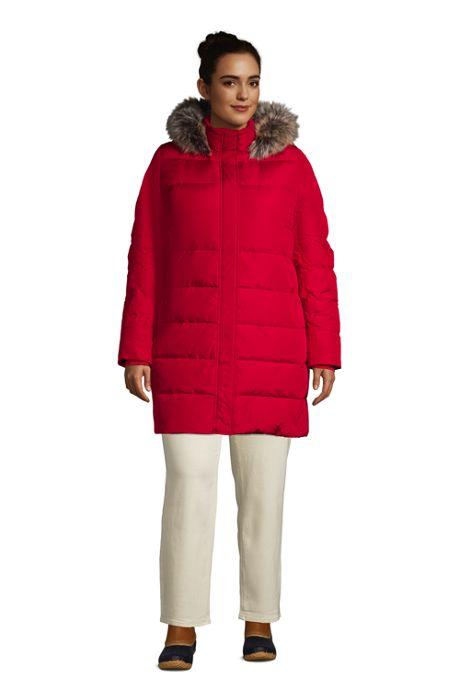 Women's Plus Size Petite Winter Long Down Coat with Faux Fur Hood
