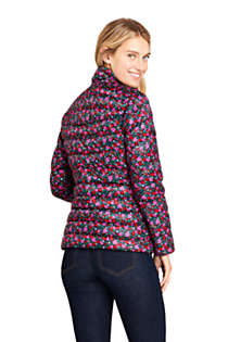 Women's Petite Print Ultralight Packable Down Jacket, Back