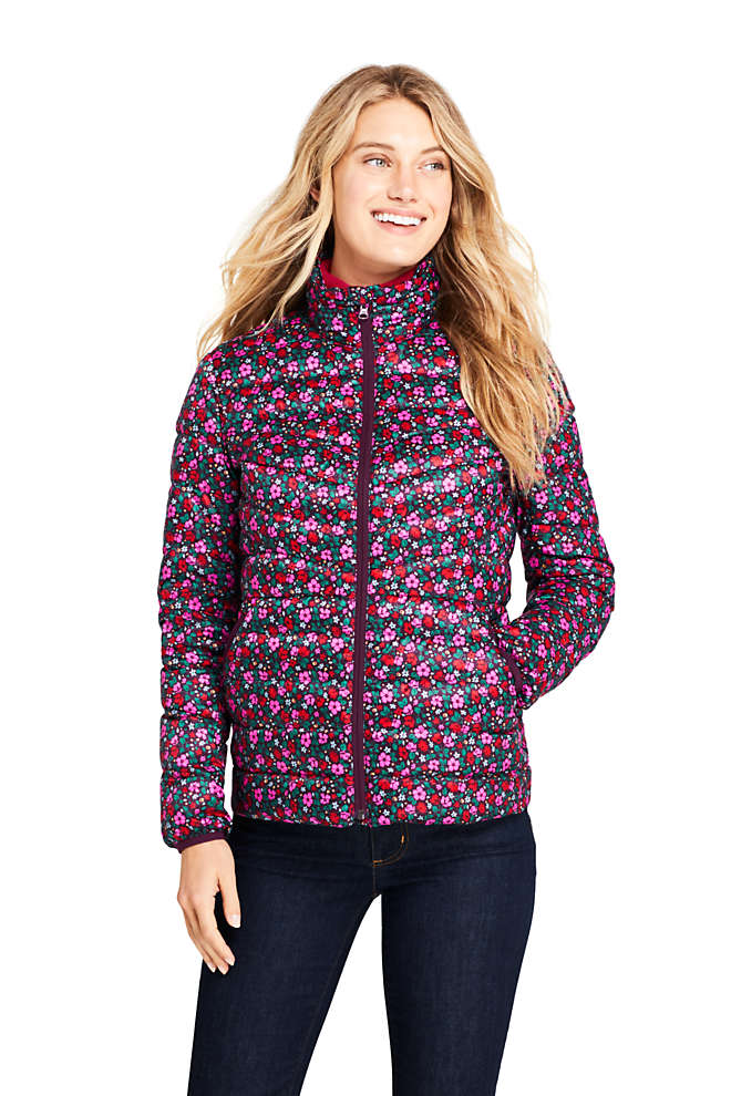 Women's Petite Print Ultralight Packable Down Jacket, Front