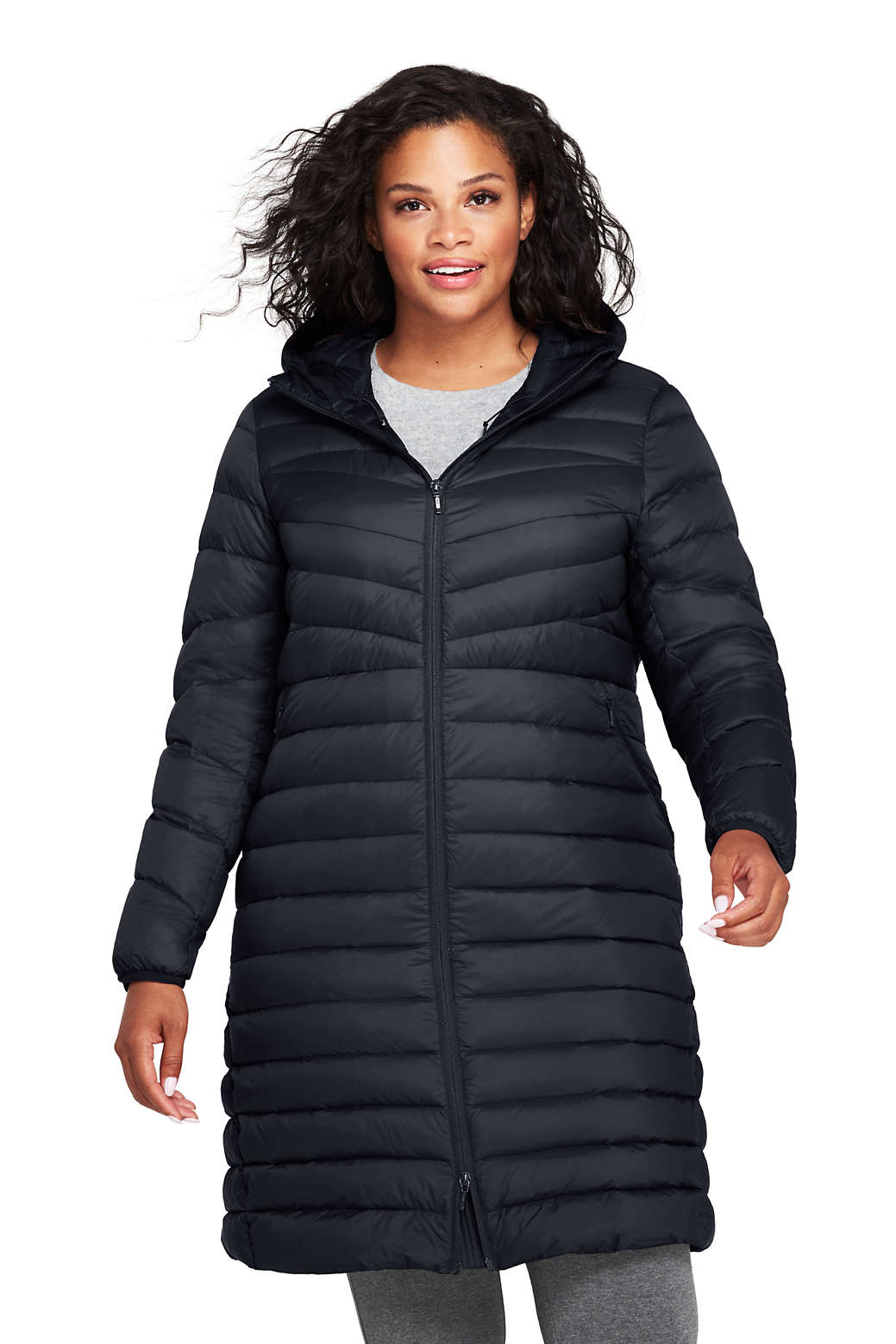 c8367337cf Women s Plus Size Ultralight Packable Long Down Coat from Lands  End