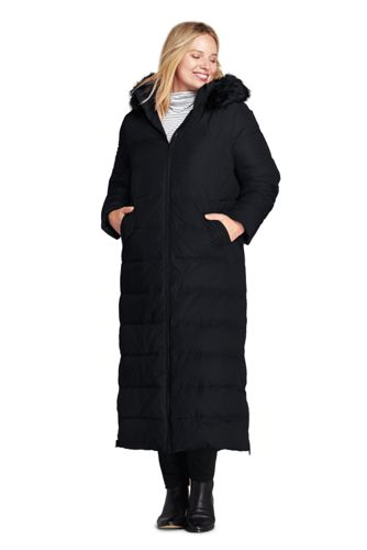 Womens Plus Size Winter Long Down Coat With Faux Fur Hood From Lands End