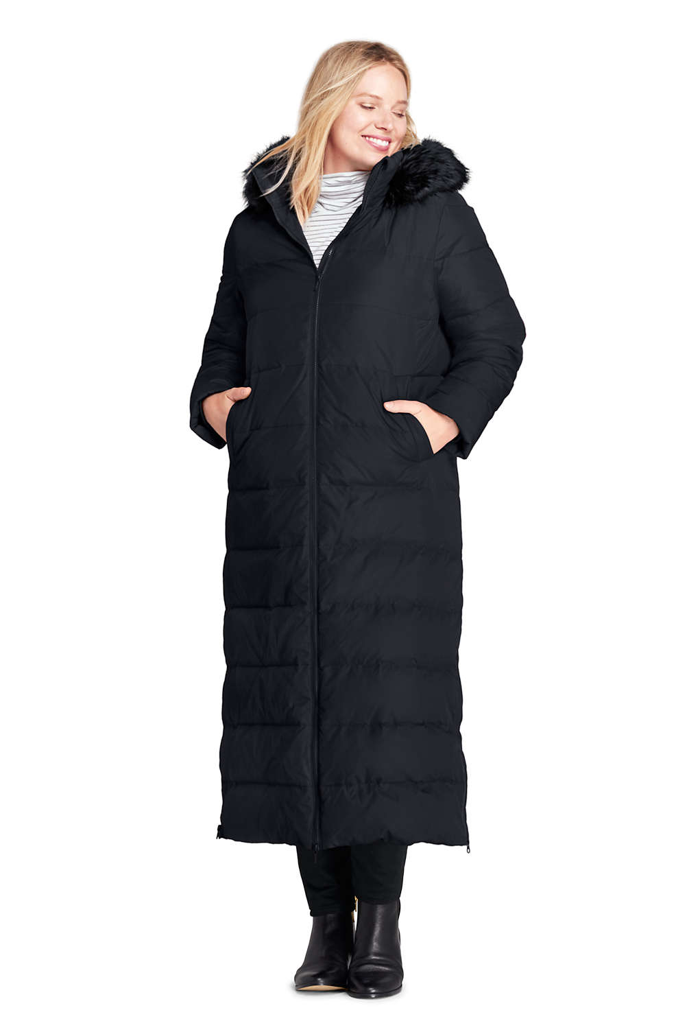 c4a4a09158a Women s Plus Size Winter Long Down Coat with Faux Fur Hood from Lands  End