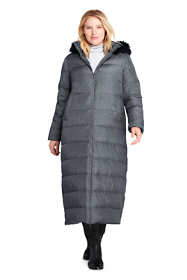 Women's Plus Size Winter Long Down Coat with Faux Fur Hood