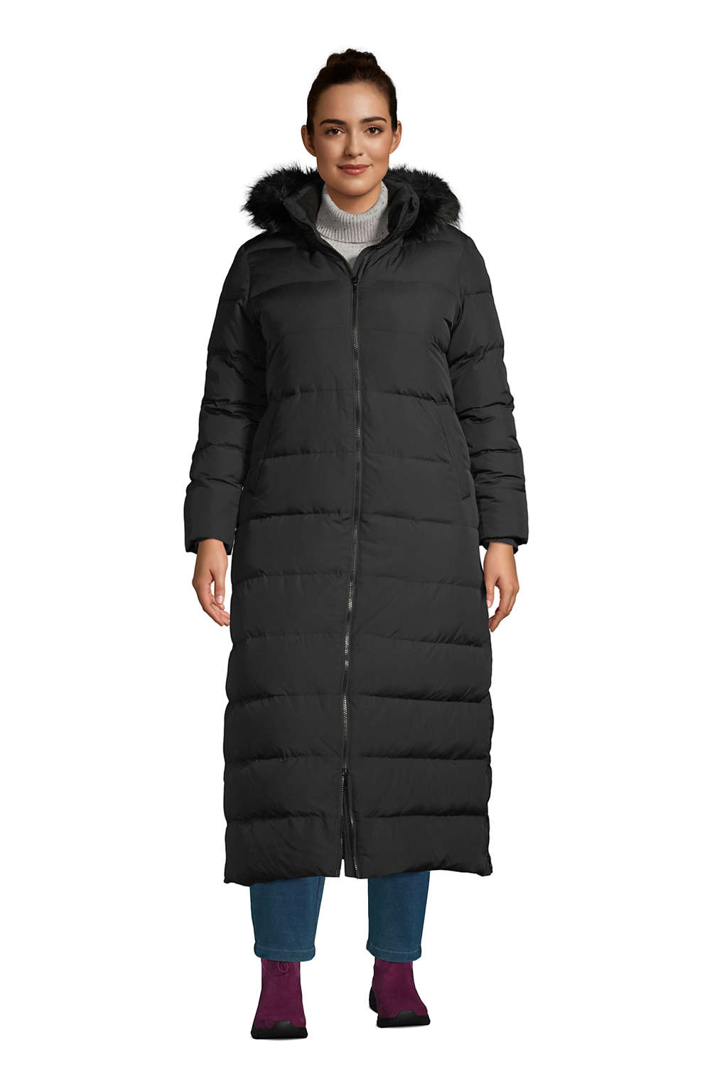 good service stylish design shop for luxury Women's Plus Size Winter Long Down Coat with Faux Fur Hood