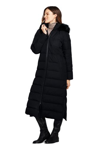 Women's Petite Fur Hooded Maxi Down Coat