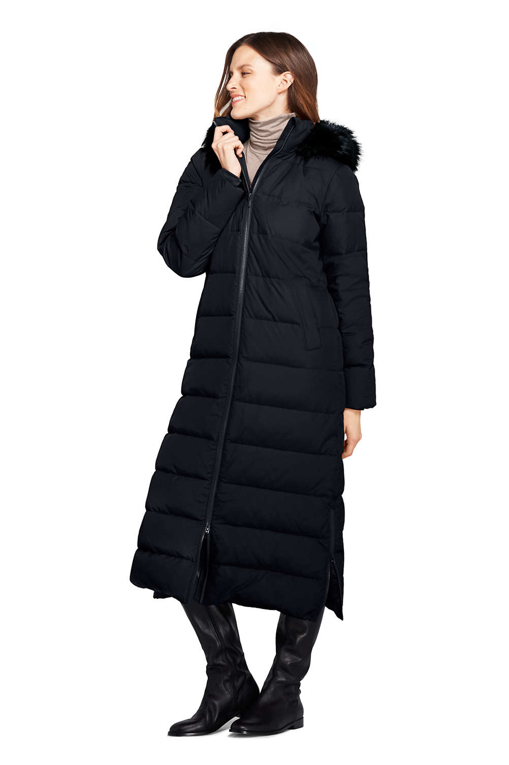 0c3d34be51d95 Women's Winter Long Down Coat with Faux Fur Hood from Lands' End
