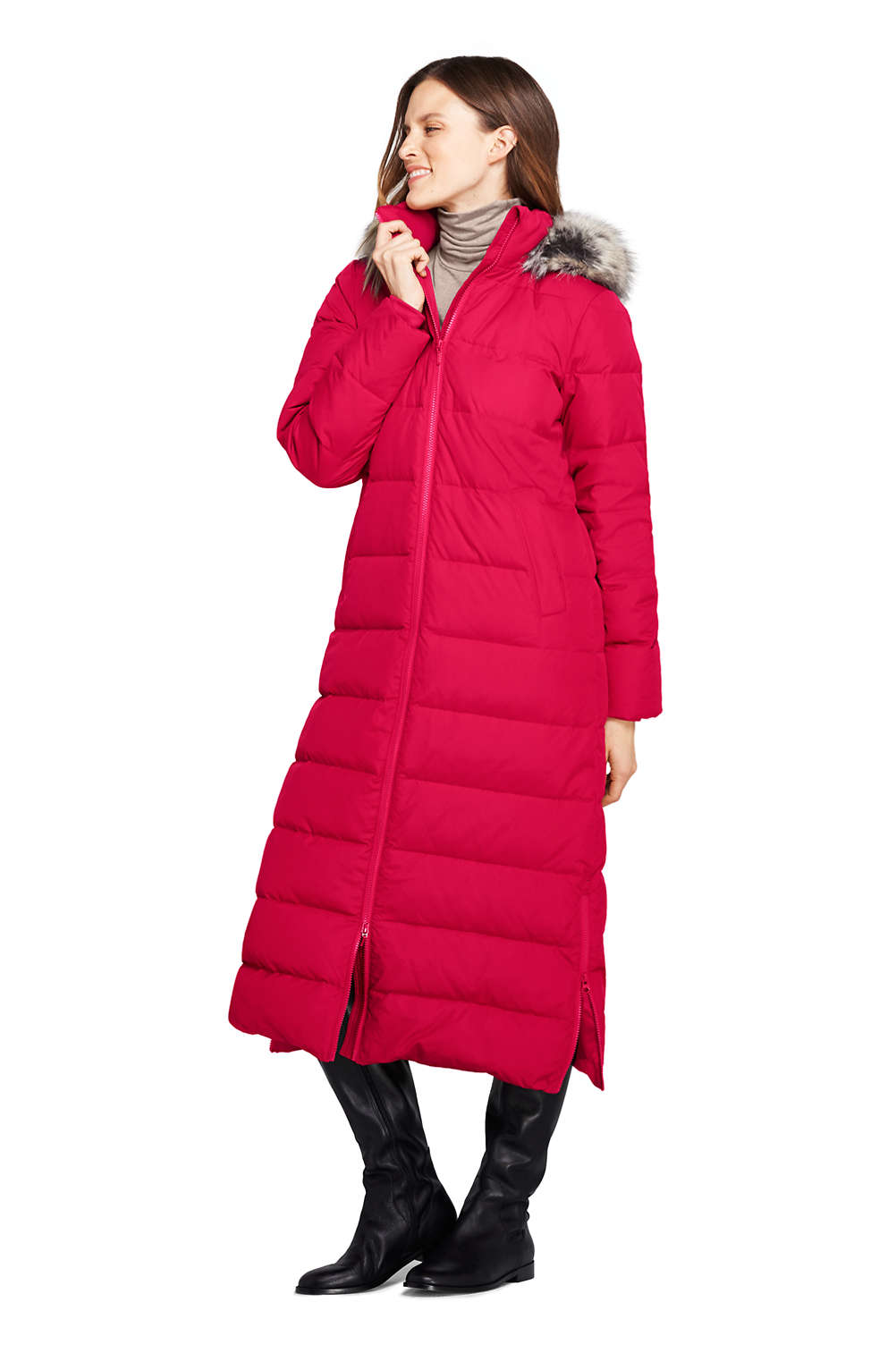 7b2720e3be9 Women s Winter Long Down Coat with Faux Fur Hood from Lands  End