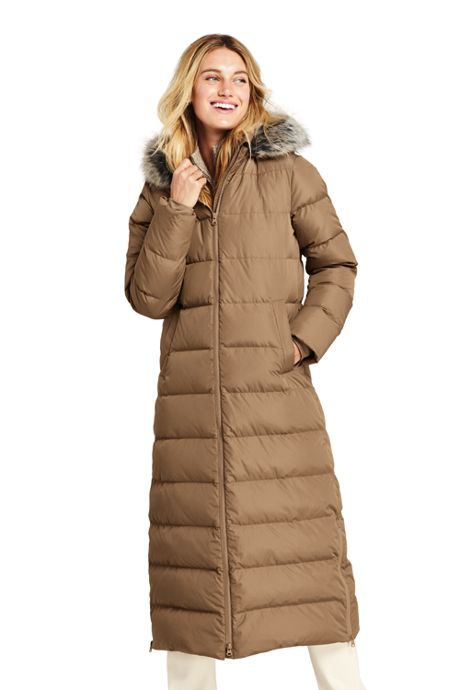 Women's Tall Winter Maxi Long Down Coat with Hood