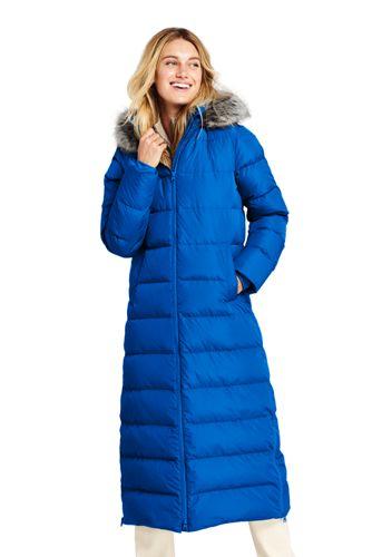 Lands\' End Women\'s Faux Fur Hooded Maxi Down Coat - 20, Blue