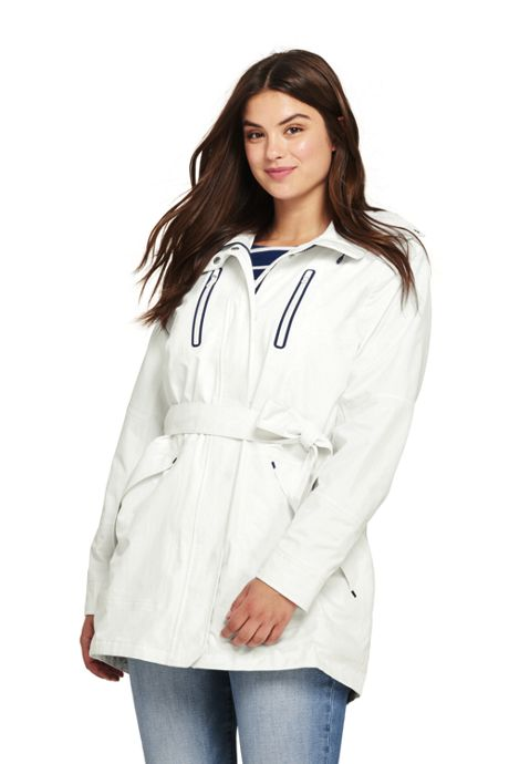 Women's Plus Size Lightweight Belted Squall Rain Coat
