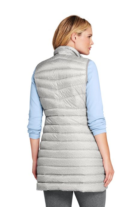 Women's Plus Size Print Ultralight Long Down Vest  Packable