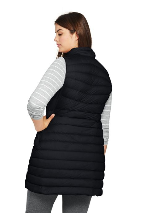 Women's Plus Size Ultralight Long Down Vest Packable