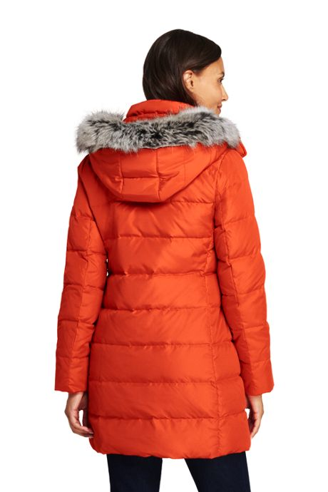 Women's Tall Winter Long Down Coat with Faux Fur Hood