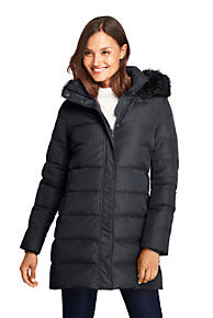 4f6fbaca0a7 Women s Winter Long Down Coat with Faux Fur Hood. Black