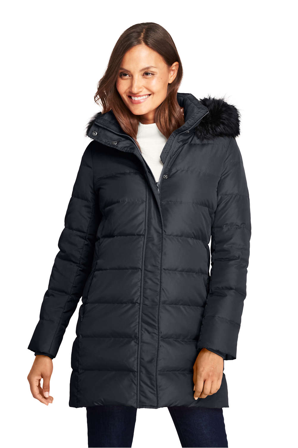 30a38febe Women's Winter Long Down Coat with Faux Fur Hood from Lands' End