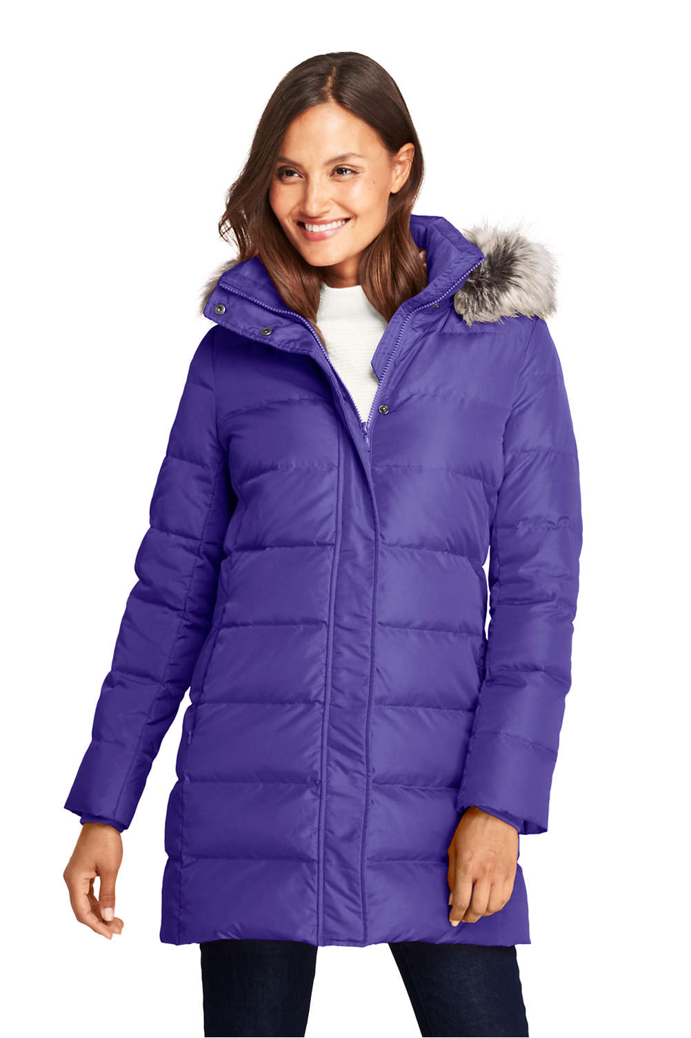 7753a75b8 Women's Winter Long Down Coat with Faux Fur Hood from Lands' End