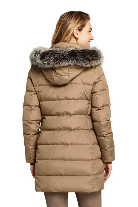 Women's Petite Winter Long Down Coat with Faux Fur Hood