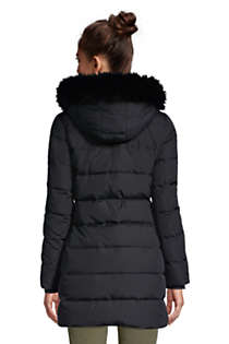 Women's Winter Long Down Coat with Faux Fur Hood, Back