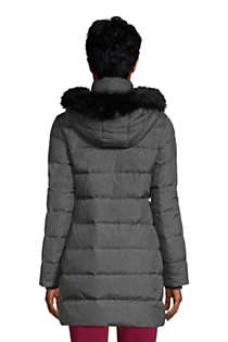 Women's Tall Winter Long Down Coat with Faux Fur Hood, Back