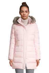 Women's Petite Winter Long Down Coat with Faux Fur Hood