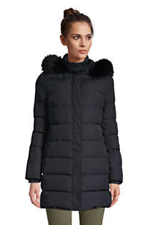 Women's Winter Long Down Coat with Faux Fur Hood, Front