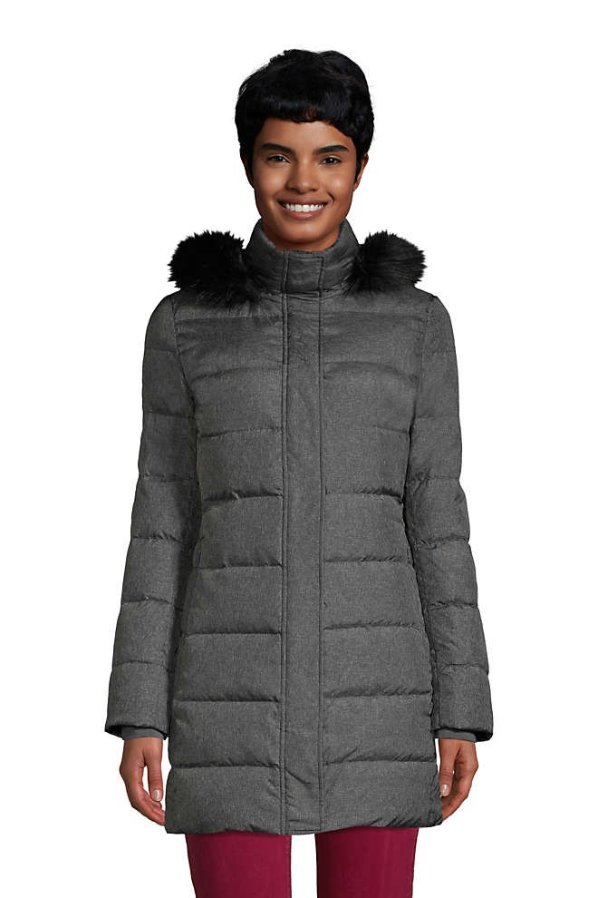 Women's Tall Winter Long Down Coat with Faux Fur Hood, Front