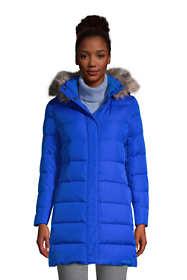 Women's Winter Long Down Coat with Faux Fur Hood