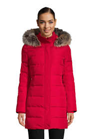 Women's Winter Long Down Coat with Faux Fur Hood