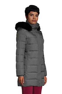 Women's Winter Long Down Coat with Faux Fur Hood, Unknown