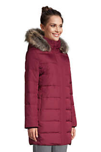 Women's Winter Long Down Coat with Faux Fur Hood, alternative image