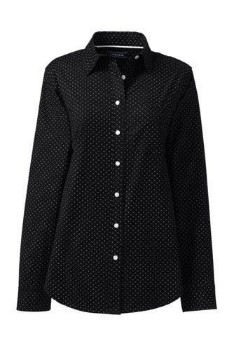 Women's Patterned Long Sleeve Classic Oxford Shirt