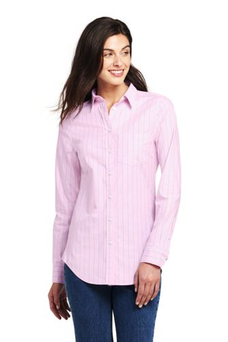 Women's Plus Patterned Long Sleeve Classic Oxford Shirt