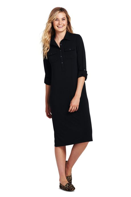 Women's Long Sleeve Matte Jersey Utility Dress