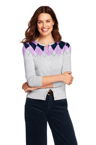 Women's Petite Supima Cotton Argyle Cardigan