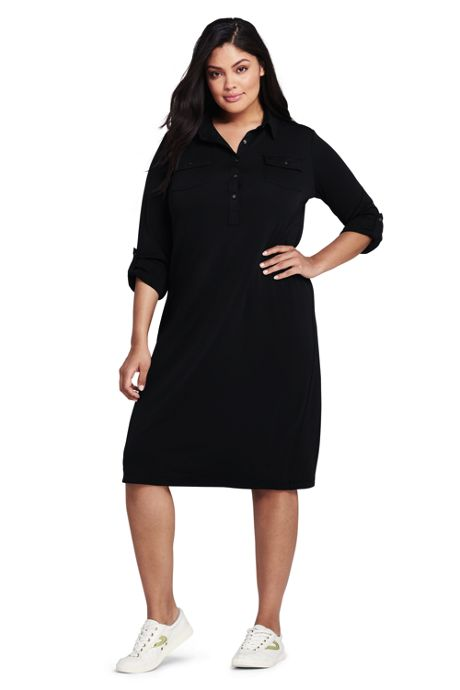 Women's Plus Size Long Sleeve Matte Jersey Utility Dress