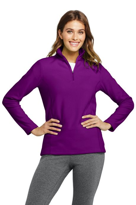 Women's Petite Quarter Zip Fleece Pullover Top