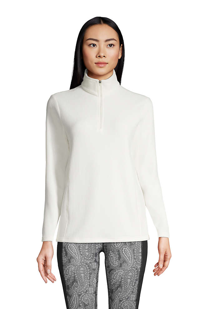 Women's Petite Quarter Zip Fleece Pullover Top, Front