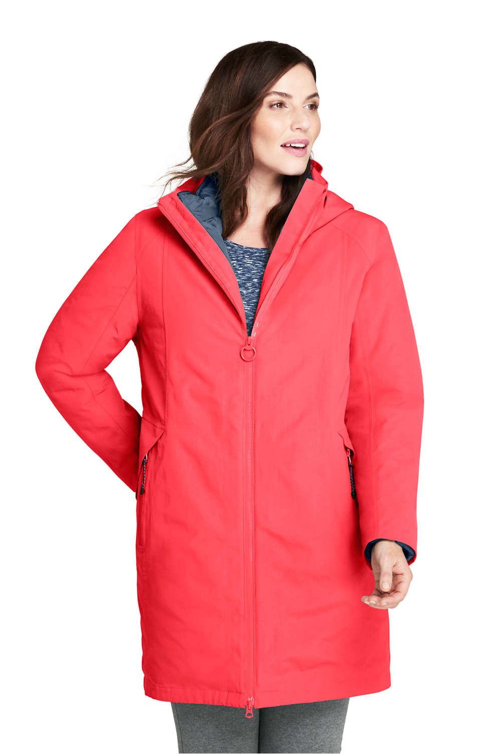 879d6ec16b Women's Plus Size 3 in 1 Long Squall Coat from Lands' End