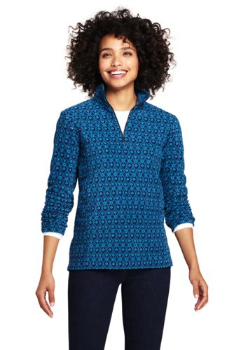 Women's Petite Patterned Half Zip Fleece Top
